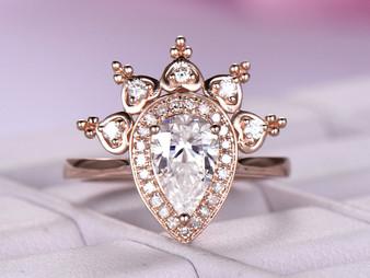 Pear Moissanite Engagement Ring FULL Cut Diamond Tiara Halo 14K Rose Gold 5x8mm