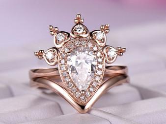 2pc Bridal Set,Pear Moissanite Engagement Ring FULL Cut Diamond Tiara Halo Chevron Band 14K Rose Gold 5x8mm