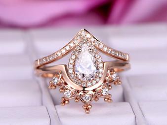 2pc Bridal Set,Pear Moissanite Engagement Ring Tiara Wedding Band 14K Rose Gold 6x8mm