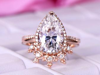 2pc Bridal Set,3ct Pear Moissanite Engagement Ring Tiara Wedding Band 14K Rose Gold 8x12mm