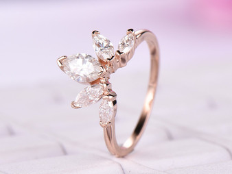 5 Stones: Marquise Moissanite Tiara Ring 14k Rose Gold
