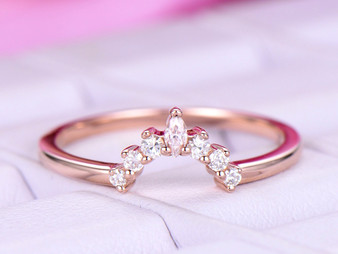 Tiara Round/Marquise Moissanite Wedding Ring 14K Rose Gold