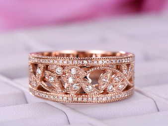 Men's Ring,Moissanite Wedding Ring Floral 14K Rose Gold Band