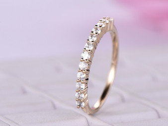 Moissanite Wedding Band Half Enternity Anniversary Ring 14K Rose Gold Prong Set