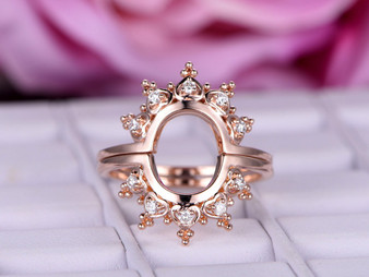 2pc Bridal Set,Moissanite Tiara Wedding Ring 14K Rose Gold Band