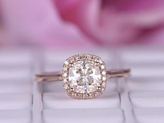 Cushion FB Moissanite Engagement Ring Diamond Halo 14K Rose Gold 6.5mm