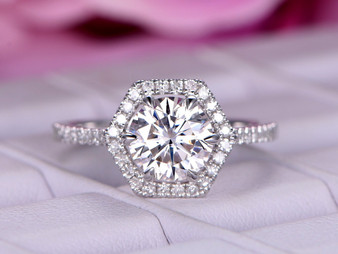 Round Moissanite Engagement Ring Diamond Hexagon Halo Wedding Ring 14k White Gold 7mm