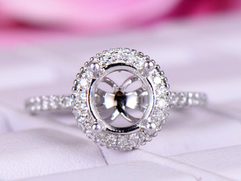 Diamond Engagement Semi Mount Ring 14k White gold Setting Round 7mm