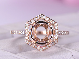 Diamond Engagement Semi Mount Ring Hexagon Halo 14K Rose Gold Round 8mm