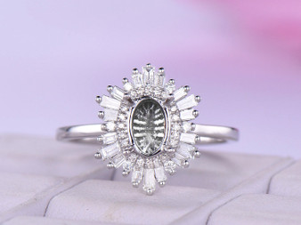 Baguette and Round Diamond Double Halo Semi Mount Ring 14K White Gold  Oval 5x7mm