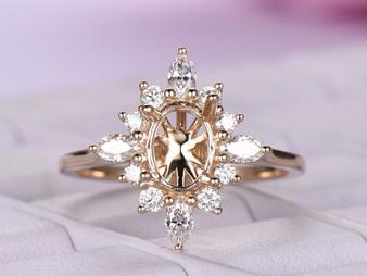 Marquise/Round Diamond Semi Mount Ring 14K Yellow Gold Setting Oval 6x8mm