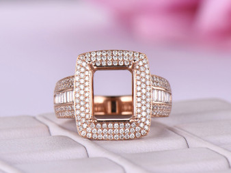 Diamond Engagement Semi Mount Ring 14K Rose Gold Emerald 7x9mm