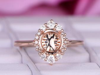 Engagement Semi Mount Ring Graduated Diamond Halo 14K Rose Gold Round 6.5mm