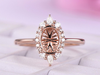 Diamond Semi Mount Ring 14K Rose Gold Setting Oval 6x8mm