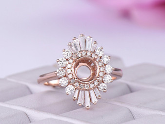 Semi Mount Ring Baguette and Round Diamond Double Halo 14K Rose Gold Setting Round 6.5mm