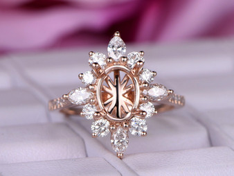 Marquise Diamond Halo Engagement Semi Mount Ring 14K Rose Gold Oval 6x8mm