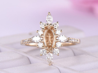 Marquise Diamond Halo Engagement Semi Mount Ring 14K Yellow Gold Oval 4x8mm