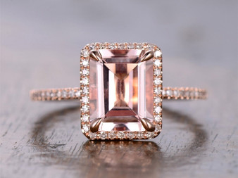 3.5ct Emerald cut Morganite Engagement ring,Pave diamonds 14K Rose Gold, 8x10mm
