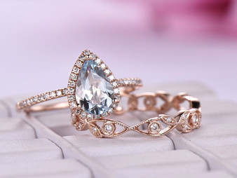 2pc Bridal Set, Pear Aquamarine Ring Floral Wedding Diamond Band 14K Rose Gold 6x8mm