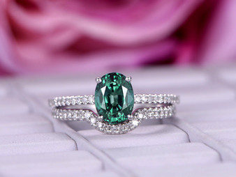 2pc Bridal Set, Oval Alexandrite Engagement Ring Diamond Wedding Band 14K White Gold 6x8mm