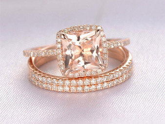 3pc Bridal Set, Princess Morganite Engagement Ring Trio Bridal Set Pave Diamond Wedding 14K Rose Gold 7mm,Cushion Halo