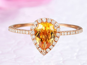 Pear Cut Citrine Engagement Ring Diamond Halo,14K Rose Gold,6x8mm
