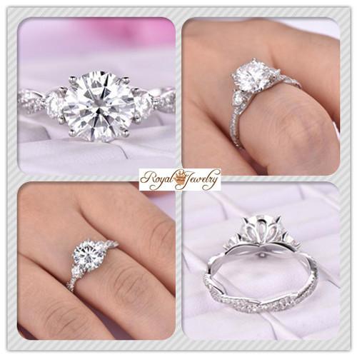 Round Moissanite Engagement Ring Infinity Diamond Wedding 14K White Gold 8.5mm