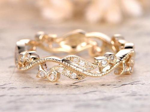 SI Diamond Wedding Band Floral Eternity Ring 14K Yellow Gold