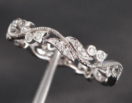 SI Diamond Wedding Band Floral Eternity Ring 14K White Gold