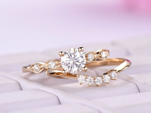 5mm Round Moissanite Engagement Ring Set Moissanite band 14K Yellow Gold