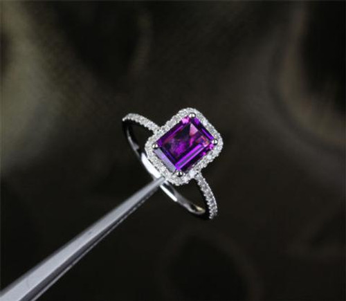 Emerald Cut Amethyst Engagement Ring Pave Diamond Wedding 14K White Gold 6x8mm