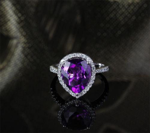 Pear Dark Purple Amethyst Engagement Ring Pave Diamond Wedding 14k White Gold 10x12mm