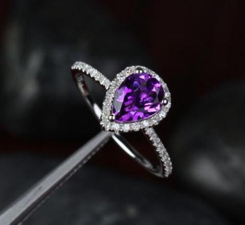 Pear Dark Purple Amethyst Engagement Ring Pave Diamond Wedding 14k White Gold 6X8mm