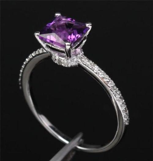 Princess Amethyst Engagement Ring Pave Diamond Wedding 14K White Gold 6.5mm