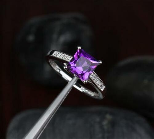 Princess Amethyst Engagement Ring Pave Diamond Wedding 14K White Gold 7x7mm