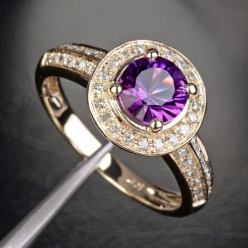 Round Amethyst Engagement Ring Diamond Wedding 14K Yellow Gold 6.5mm