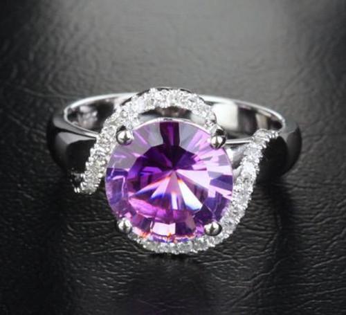 Round Amethyst Engagement Ring Pave Diamond Wedding 14k White Gold 10mm