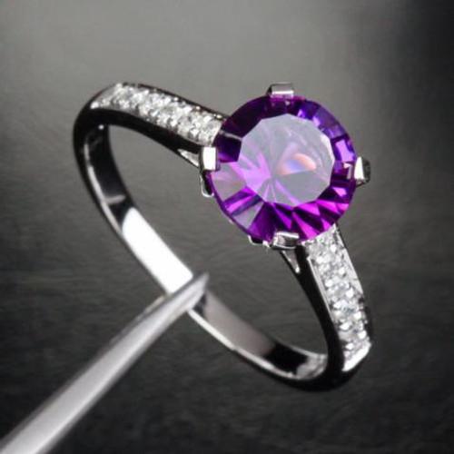 Round Amethyst Engagement Ring Pave Diamond Wedding 14K White Gold 7mm Cocktail