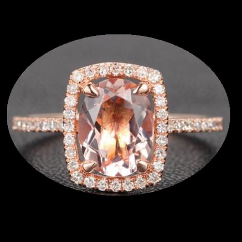 Oval Morganite Engagement Ring Pave Diamond Wedding 14K Rose Gold 7x9mm Cushion Halo