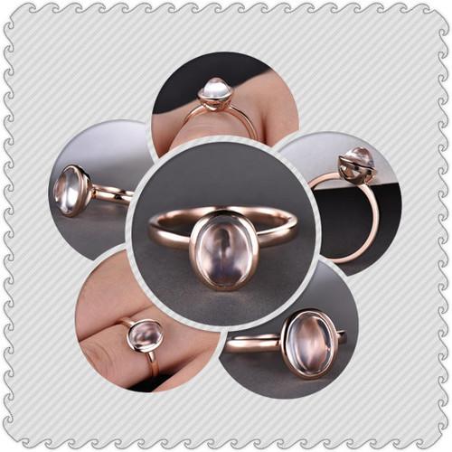 7x9mm Oval Moonstone Engagement Ring 14k Rose Gold