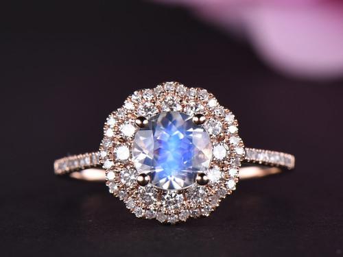 Round Moonstone Engagement Ring Full Cut Diamond Wedding Band 14k Rose Gold 6.5mm