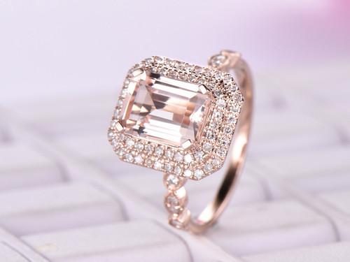 14K Rose Gold 7x9mm Emerald Cut Morganite Cathedral Ring Diamond Art Deco Band