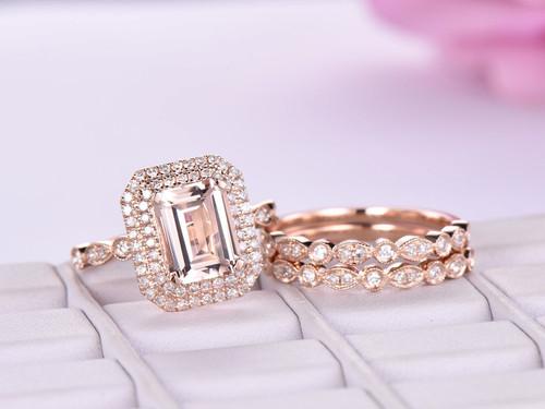 14K Rose Gold 7x9mm Emerald Cut Morganite Cathedral Ring Trio Bridal Set Diamond Art Deco Band