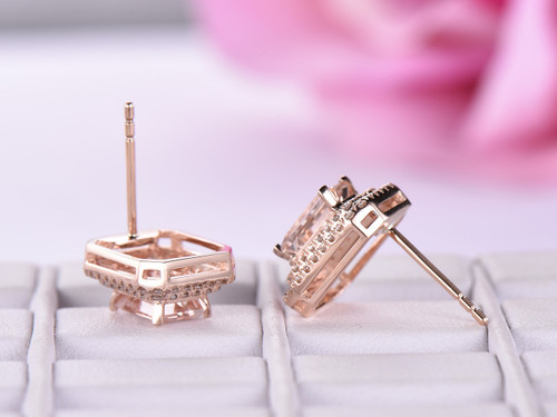 14K Rose Gold 5x7mm Emerald Cut Morganite Earrings Pave Diamonds Halo, Stud
