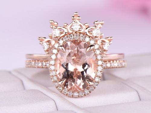2pc Oval Morganite Engagement Ring Bridal Set Moissanite Tiara 14K Rose Gold 8x10mm