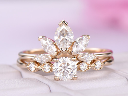 2pc Round Moissanite Engagement Ring Crown Bridal Set Moissanite Wedding Ring 14k Yellow Gold 5mm