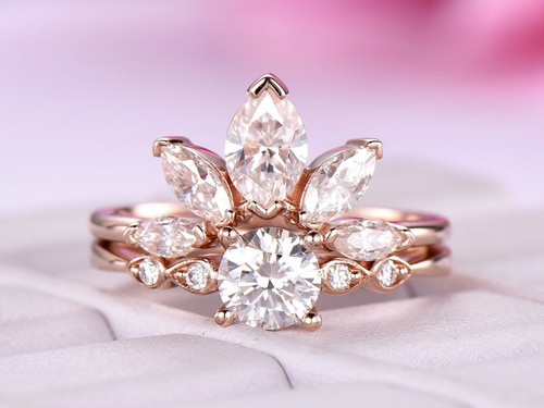 2pc Round Moissanite Engagement Ring Crown Bridal Set Moissanite Ring 14k Rose Gold 5mm