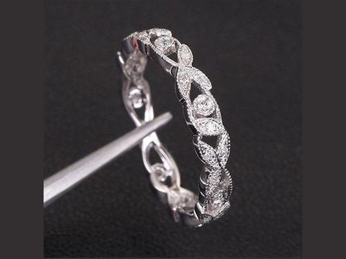 Eternity Vine Ring Diamond Wedding Band 14K White Gold