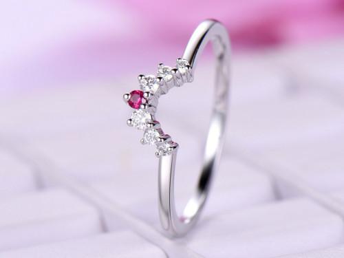 Graduated Round Diamond Ruby Tiara Wedding Ring 14K White Gold