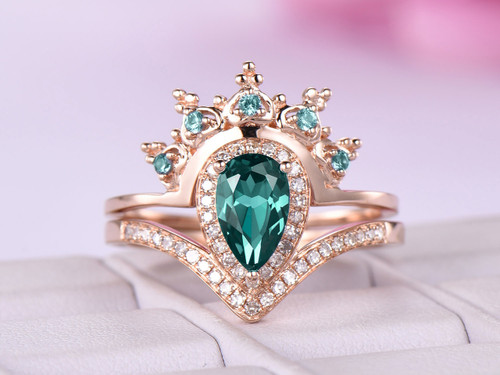2pc Bridal Set Tiara Pear Alexandrite Engagement Ring 14K Rose Gold 5x8mm